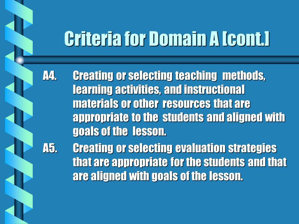 Criteria for Domain A [cont.]